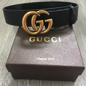 GG Black And Gold Gucci Belt